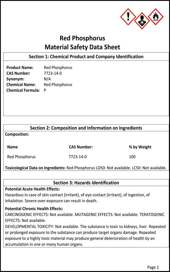 MSDS - Red Phosphorus P